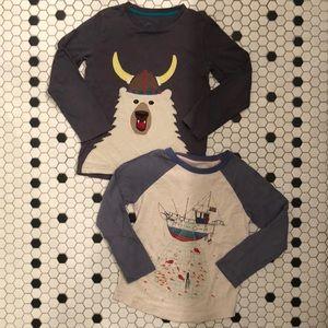 Boy's Mini Boden Shirts: Fishing Boat, Viking Bear